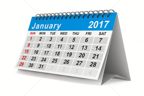 2017 year calendar. January. Isolated 3D image Stock photo © ISerg