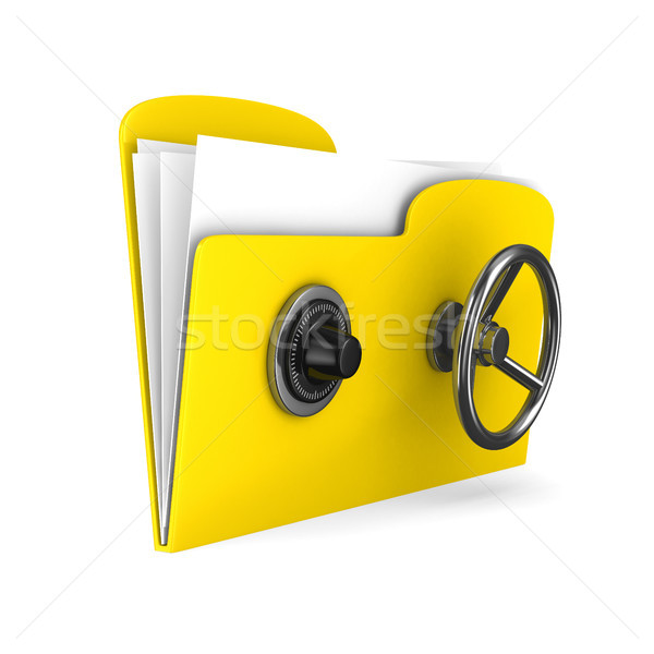 Stock photo: Yellow computer folder with lock. Isolated 3d image
