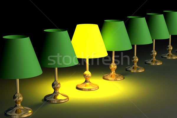 One shone desk lamp among. 3D image. Stock photo © ISerg