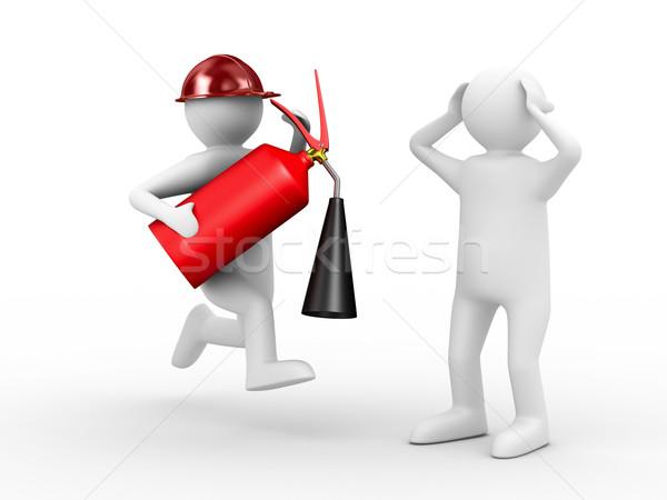 fireman on white background. Isolated 3D image Stock photo © ISerg