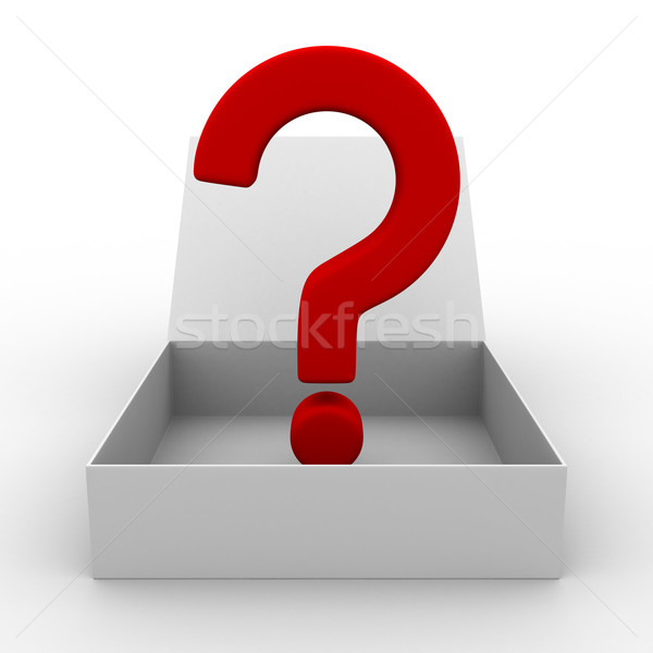 Stock photo: Open box with question. Isolated 3D image