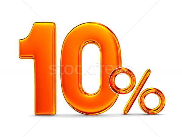Dix pour cent blanche isolé 3d illustration argent Photo stock © ISerg