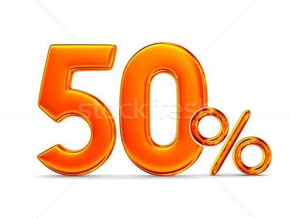 Cinqüenta por cento branco isolado ilustração 3d dinheiro Foto stock © ISerg