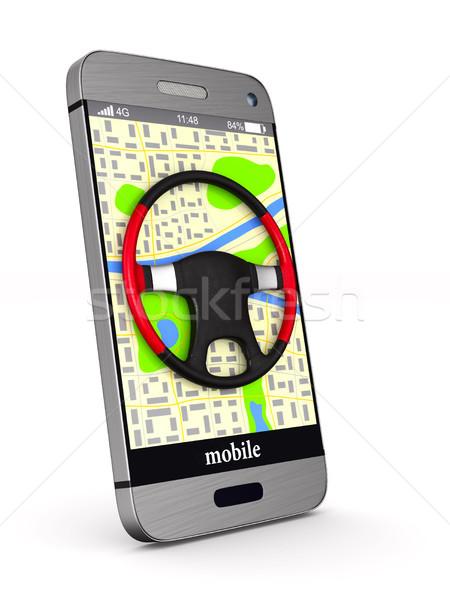 Navigazione telefono isolato illustrazione 3d auto tecnologia Foto d'archivio © ISerg