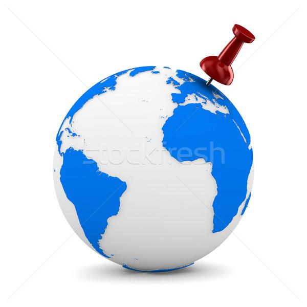 Red thumbtack on globe. Isolated 3D image Stock photo © ISerg