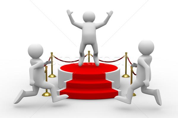 Stockfoto: Podium · witte · geïsoleerd · 3D · afbeelding · springen