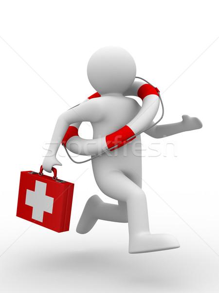 Médico auxiliar isolado 3D imagem homem Foto stock © ISerg