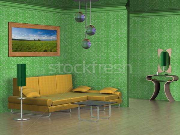 Iç çizim oda 3D görüntü duvar Stok fotoğraf © ISerg