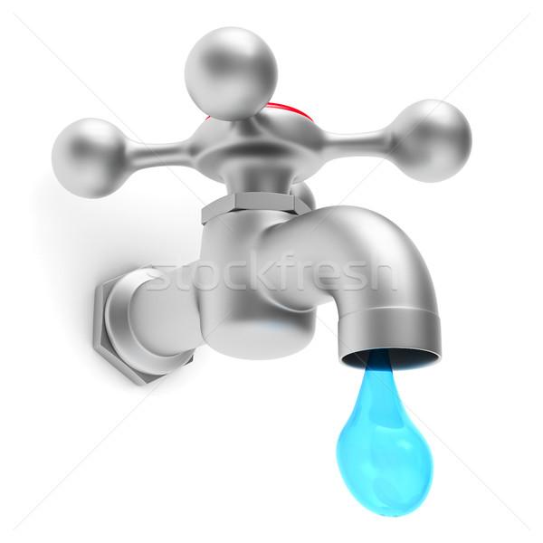 Vízcsap fehér izolált 3D kép konyha Stock fotó © ISerg