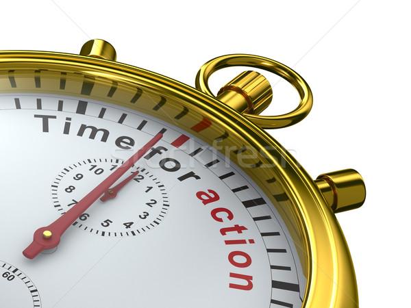 Stok fotoğraf: Zaman · eylem · kronometre · beyaz · yalıtılmış · 3D
