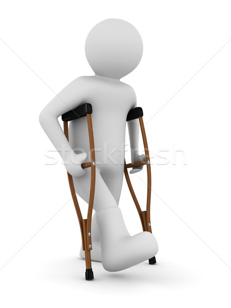 man on crutches on white background. Isolated 3D image Stock photo © ISerg