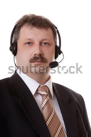 men in headphones on a white background Stock photo © ISerg