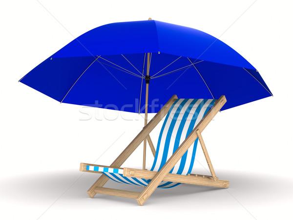 Ligstoel parasol witte geïsoleerd 3D afbeelding Stockfoto © ISerg