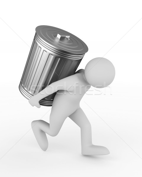 man bears garbage basket on white background. Isolated 3D illust Stock photo © ISerg