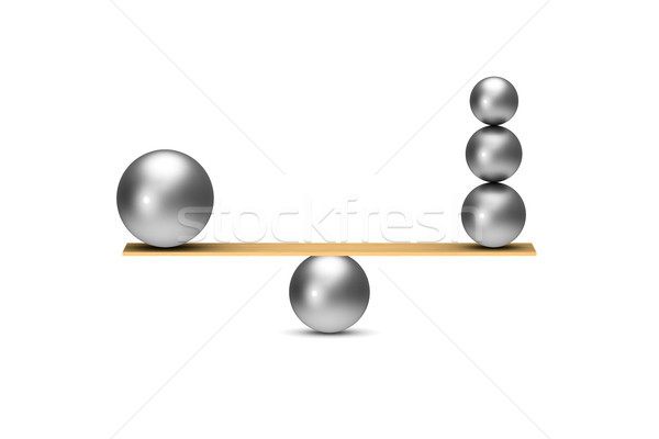 balanced balls on white background. Isolated 3D illustration Stock photo © ISerg