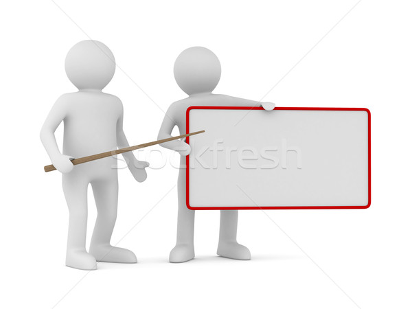 Men with empty board. Isolated 3d image Stock photo © ISerg