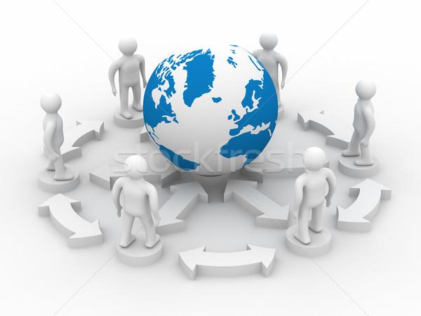 Stockfoto: Afbeelding · teamwerk · 3D · wereldbol · wereld · technologie