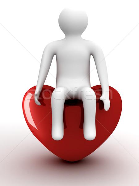 Foto stock: Pessoa · sessão · coração · isolado · 3D · imagem