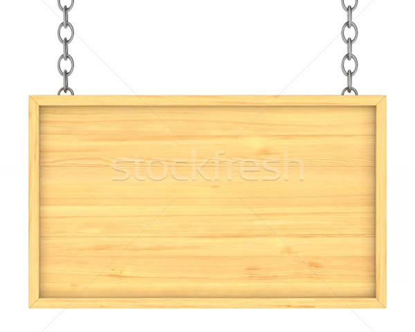 Stock fotó: Fából · készült · lánc · izolált · 3D · kép · üzlet