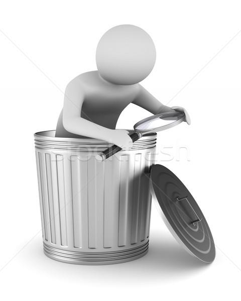 Сток-фото: человека · мусора · корзины · белый · изолированный