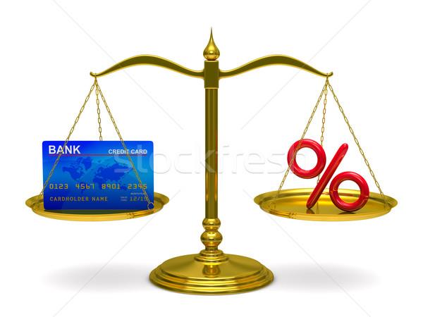 Foto stock: Cartão · de · crédito · por · cento · balança · isolado · 3D · imagem