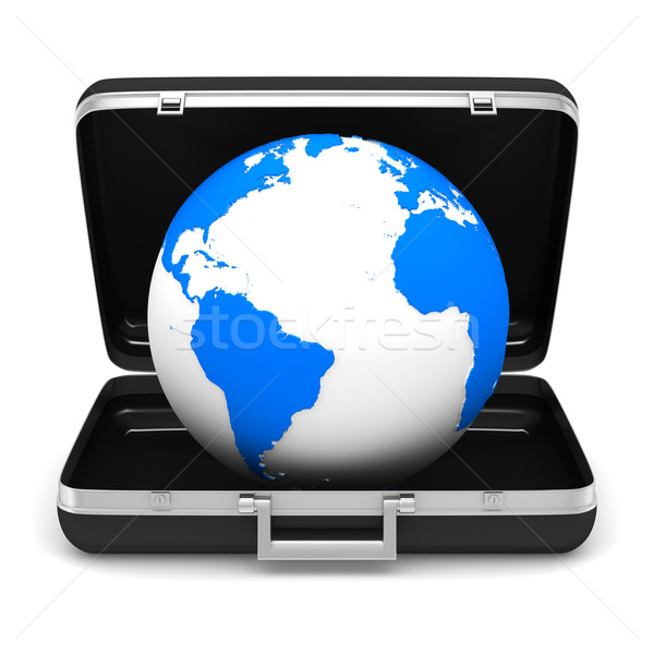 Case and globe on white background. isolated  3D image Stock photo © ISerg