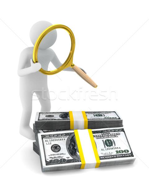 Hombre lupa dólares aislado 3D imagen Foto stock © ISerg