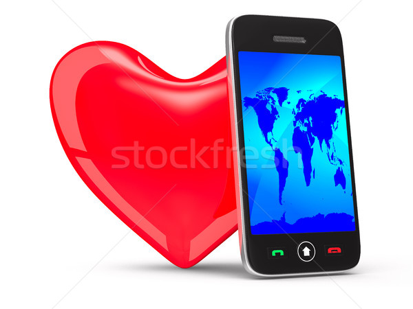 phone and heart on white background. Isolated 3D image Stock photo © ISerg