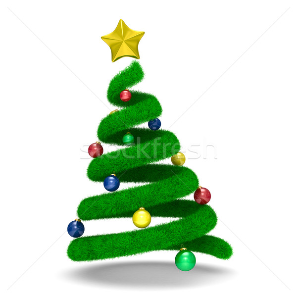 Stock photo: Christmas tree on white. Isolated 3d image