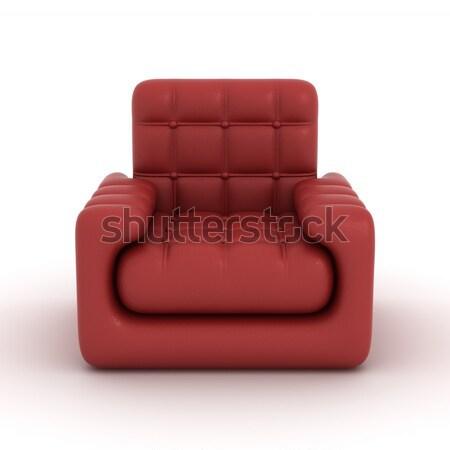 Bőr fotel fehér 3D kép terv Stock fotó © ISerg