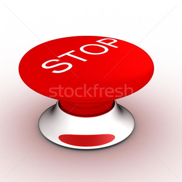 Foto stock: Botão · pare · branco · 3D · imagem
