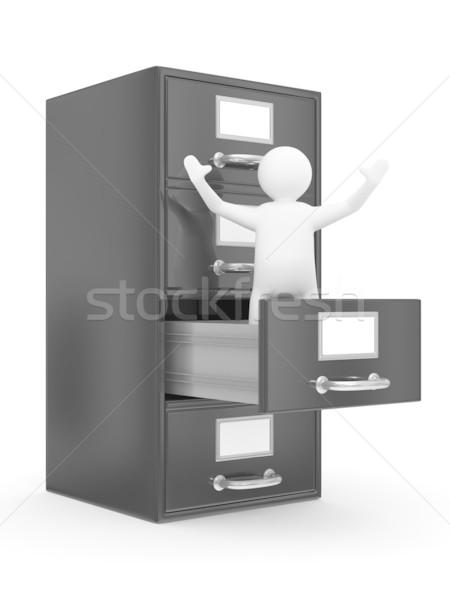 Filing cabinet on white. Isolated 3D image Stock photo © ISerg