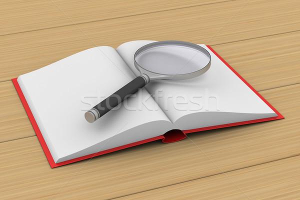 Open boek vergrootglas witte geïsoleerd 3D 3d illustration Stockfoto © ISerg