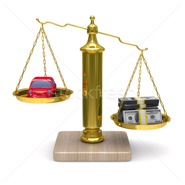 car and cashes on scales. Isolated 3D image Stock photo © ISerg