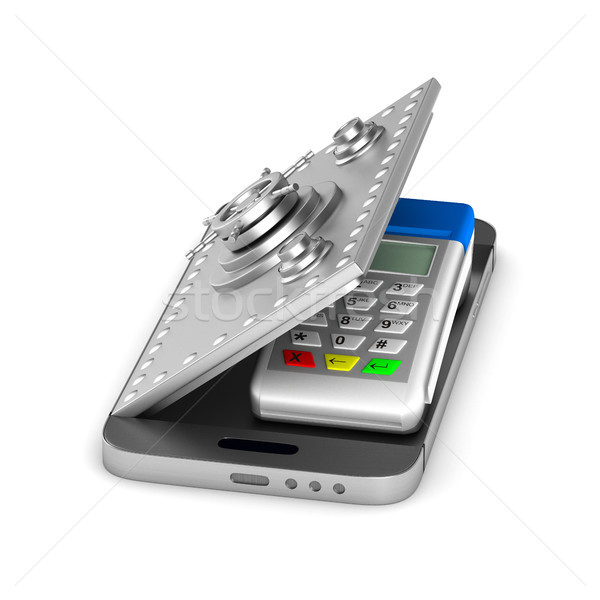 payment terminal and phone on white background. Isolated 3d illu Stock photo © ISerg