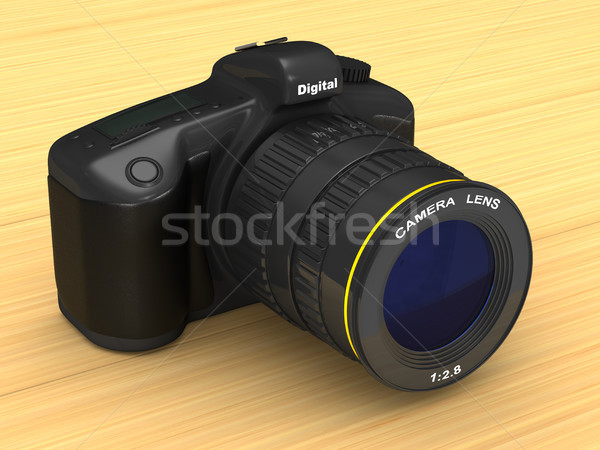 Zwarte digitale camera 3d illustration kunst tabel foto Stockfoto © ISerg