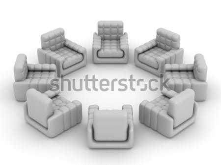 Oito em pé em torno de 3D imagem negócio Foto stock © ISerg