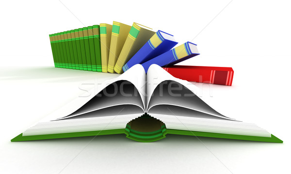 Open and falling books. 3D isolated image. Stock photo © ISerg