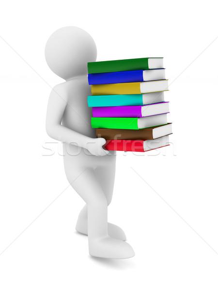 студент тюк книгах изолированный 3D изображение Сток-фото © ISerg