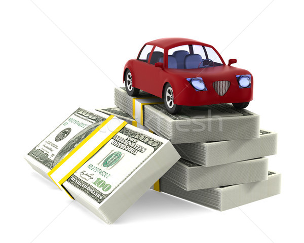 Red car on dollars. Isolated 3D illustration Stock photo © ISerg