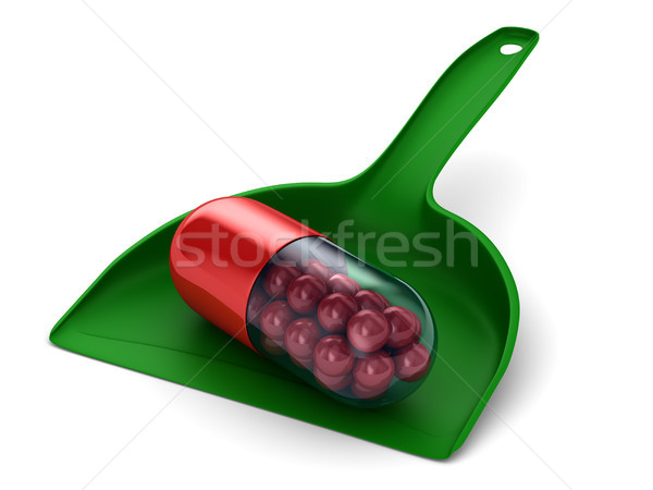capsule in dustpan on white background. Isolated 3D illustration Stock photo © ISerg