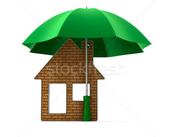 Metallic trinket house under umbrella on white background. isola Stock photo © ISerg