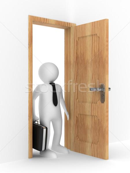 businessman in open door. Isolated 3D image Stock photo © ISerg