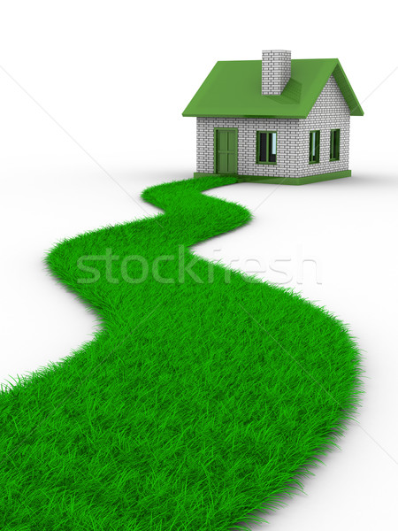 Stock photo: Road to house from grass. Isolated 3D image