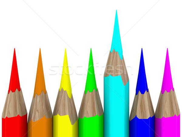 Zdjęcia stock: Zestaw · ołówki · biały · odizolowany · 3D · obraz