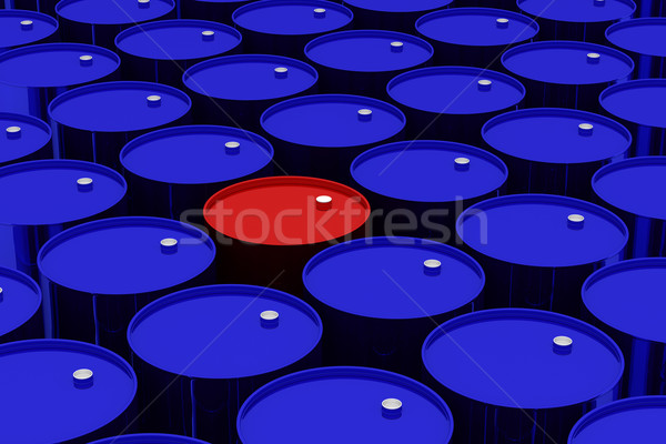 A lot of dark blue and one red vat. 3D image. Stock photo © ISerg