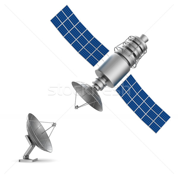 衛星 白 孤立した 3次元の図 世界 金属 ストックフォト © ISerg