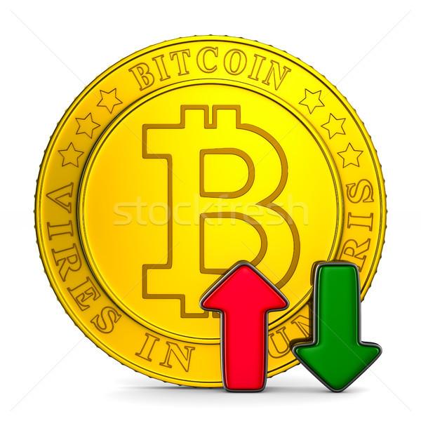 infographic growth bitcoin on white background. Isolated 3D illu Stock photo © ISerg