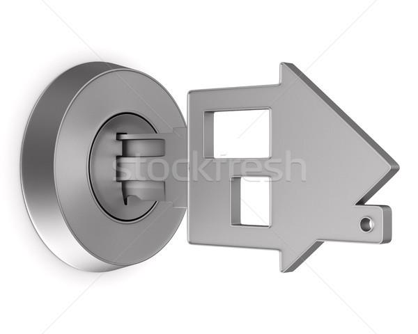 Metaliczny kluczowych biały odizolowany 3d ilustracji drzwi Zdjęcia stock © ISerg