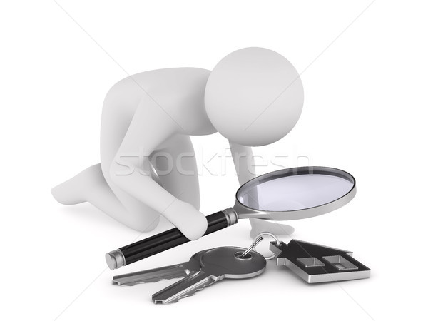 Man with magnifier and key on white background. Isolated 3D illu Stock photo © ISerg